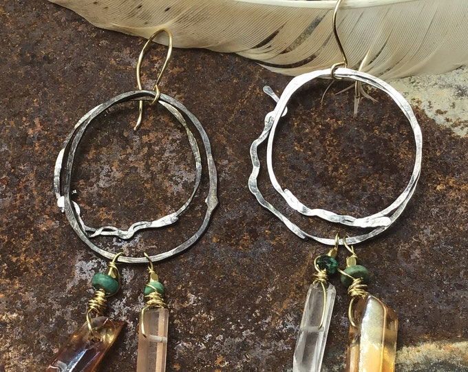 Boho wild earrings by Weathered Soul jewelry, long raw hoops, raw crystals,statement,rockstar earrings, turquoise,rustic,cowgirl