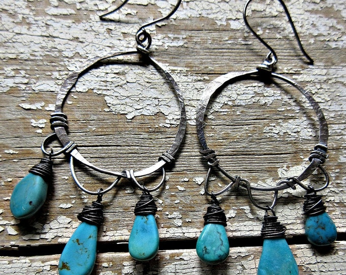 Made to order Large turquoise wire wrapped artisan hoops by Weathered Soul, teardrop stones, sterling, rustic hoops, cowgirl, southwest USA