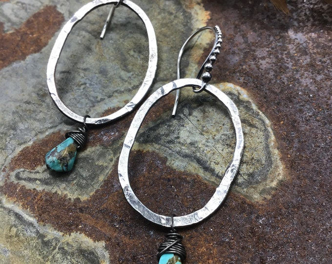 Classic rustic oval hammered hoops with a little Western Flare, cowgirl, Sundance style,rustic,organic hoops, minimalist