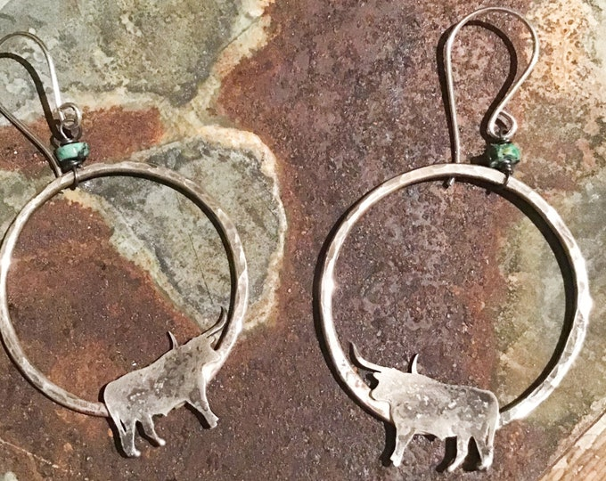 Longhorn hoops by Weathered Soul with a touch of turquoise, all sterling large hammered hoops artisan made in the USA, cowgirl