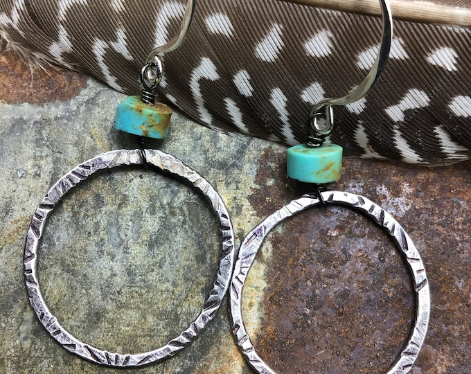 Dainty hoops with sterling ear wIres  and light starburst embossing around hoops by Weathered Soul
