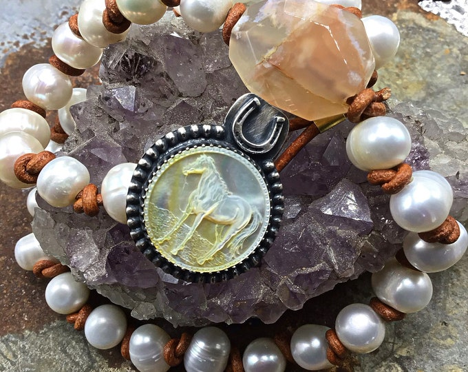 Pretty pony pearls by Weathered Soul, artisan wrap bracelet or necklace your choice, pink agate, leather, and pearl pony vintage button