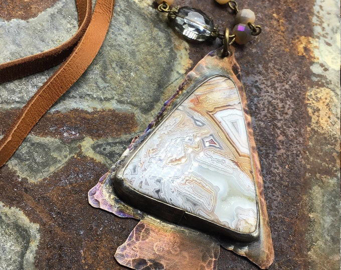 Very large rustic arrowhead pendant necklace with crazy lace agate and leather by Weathered Soul featured in Cowgirl magazine