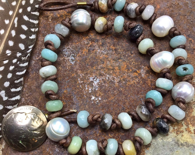 Double wrap Amazonite, pearl, leather bracelet by Weathered Soul with vintage buffalo nickel button closure