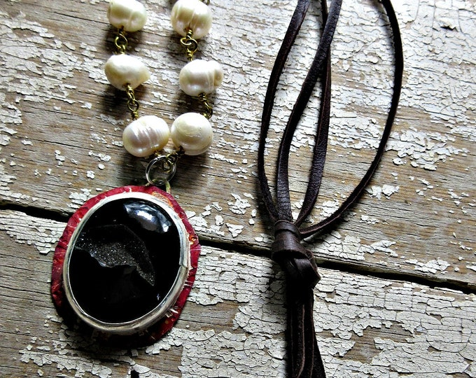 Black stone necklace with open crystal pocket, very unique, OOAK, bezel pendant with pearls and leather by Weathered Soul Jewelry, USA art
