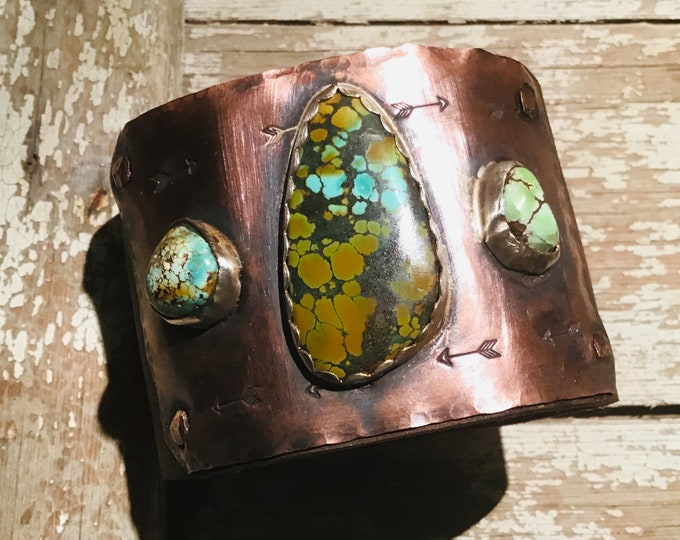 Westbound cuff by Weathered Soul, green grasshopper turquoise, matrix turquoise, OOAK, distressed leather and copper, arrows embossed, USA