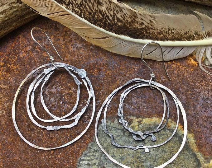 Very large Nest hoops by Weathered Soul Jewelry, fun funky rustic layered hoops simulating bird nests make up these unique earrings,artisan