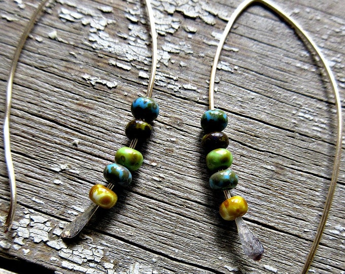 Summer fun earrings by Weathered Soul, bronze threaded style long ear wires with sweet glazed ceramic muted colored beads, minimalist, USA