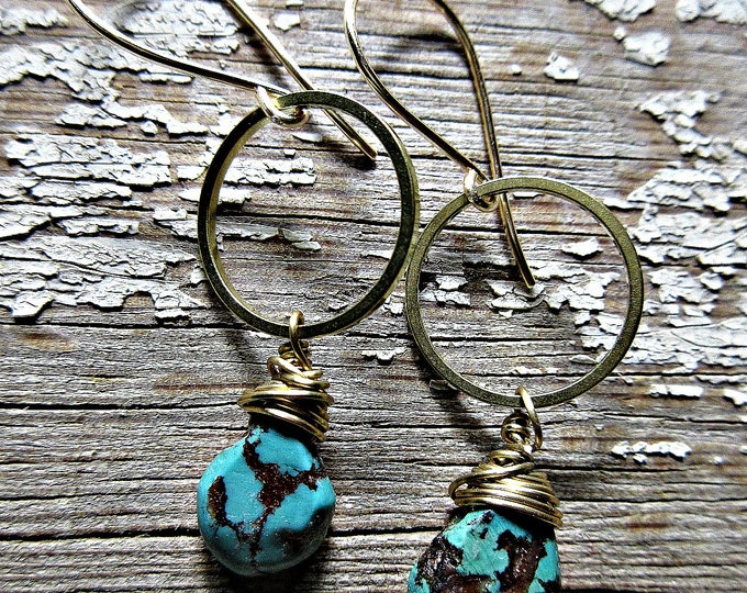 Dainty delight earrings by Weathered Soul Jewelry, artisan bronze hoops, wire wrapped gorgeous matrix turquoise stones, small but statement