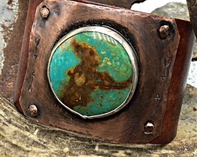 Plain and Simple Leather Cuff Bracelet by Weathered Soul Jewelry, distressed leather with turquoise large focal point bezel stone, artisan