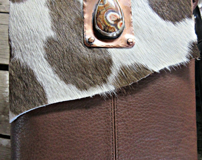 Cowgirl up with this OOAK fur on hide embellished cross body gorgeous bag with bird's eye jasper, quality 100% leather, with pockets, USA