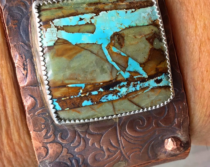 Huge hunk a turquoise statement cuff leather, copper by Weathered Soul artisan jewelry, stunning stone, large wowza piece, cowgirl