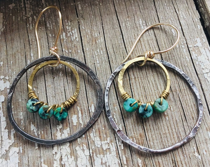 Double trouble earrings with turquoise and bronze earrings by Weathered Soul Jewelry,cowgirl,urban chic style, boho,Sundance style,artisan