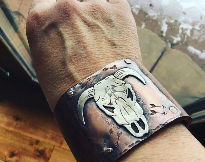 Take no bull cuff, artisan skull, OOAK, by Weathered Soul jewelry, cowgirl, boho,,vintage inspired,distressed leather, cow skull,western