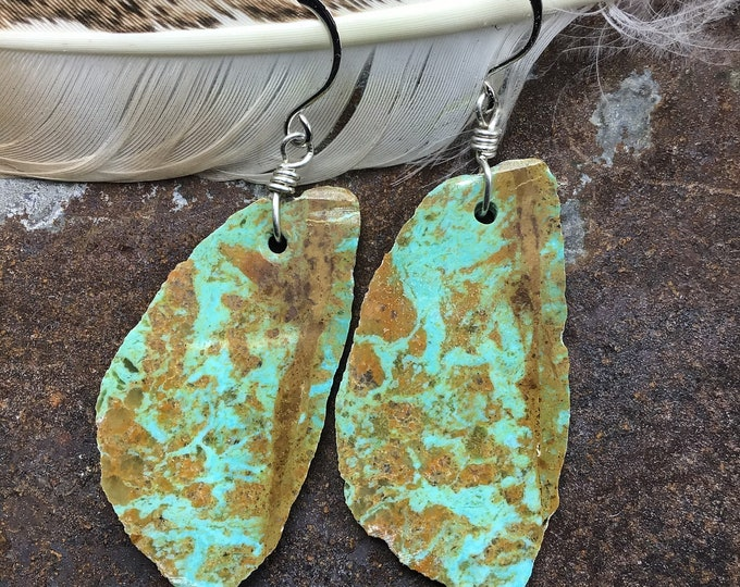 Incredible huge slab Nevada turquoise earrings classy  cowgirl,OOAK stones with slim agate tracings in stone, stunning
