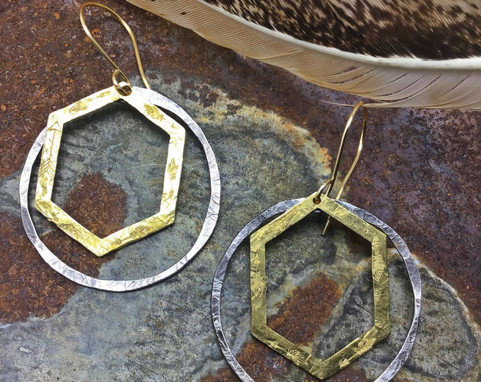 Double trouble sterling and bronze rustic medium hoops by Weathered Soul jewelry, Sundance style,artisan jewelry,urban chic,USA crafted