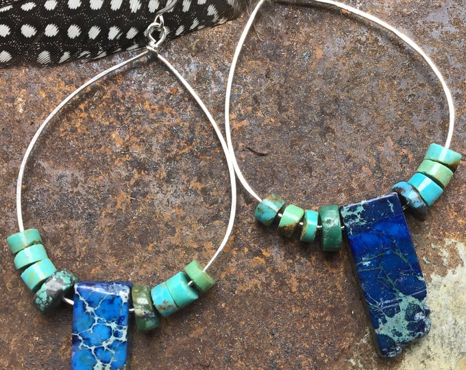 Boho wild earrings by Weathered Soul jewelry, hoops, lapis, turquoise statement,rockstar earrings, ,rustic,cowgirl
