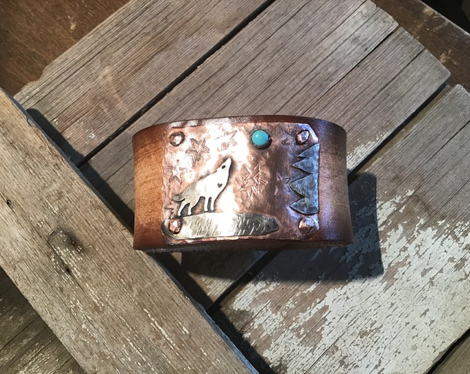 Turquoise Moon by Weathered Soul, wolf howling copper and sterling cuff artisan leather bracelet, made in USA, Wolf, howling, stars, night