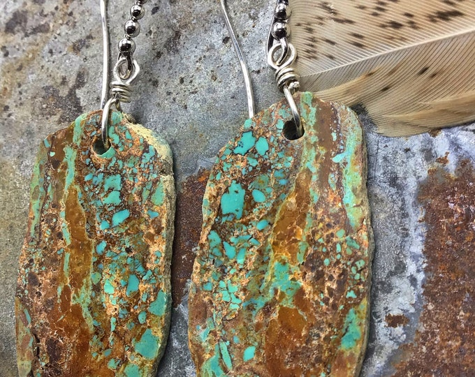 Incredible slab Nevada turquoise earrings with ball ear wires, classy cowgirl,OOAK stones with slim agate tracings in stone, stunning