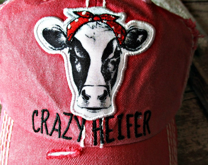Crazy Heifer hat embroidered cow lover, Camping, Outdoors, cowgirl , Distressed trucker hat! Red with black lettering, funny,humorous, USA