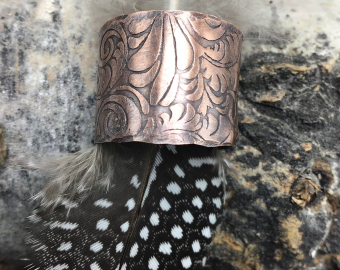 Very wide tooled leather looking copper wide band ring with sterling rivets for closure, oxidized for depth and distinguished look,size 9