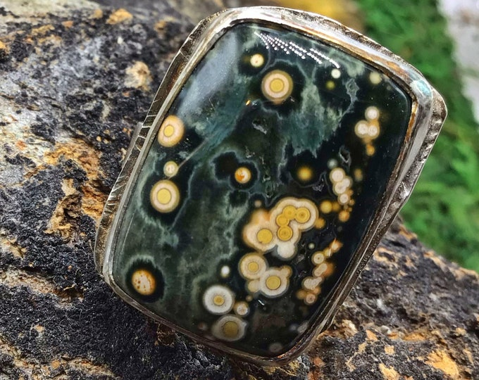 Asteroid Jasper small sized ring perfectly imperfect and on sale due to flaws in soldering ring band is off center but stone is gorgeous