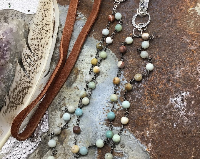 Amazonite double strand with lots of details, sterling rustic arrow incorporated in with beautiful chestnut ultra soft elk leather necklace