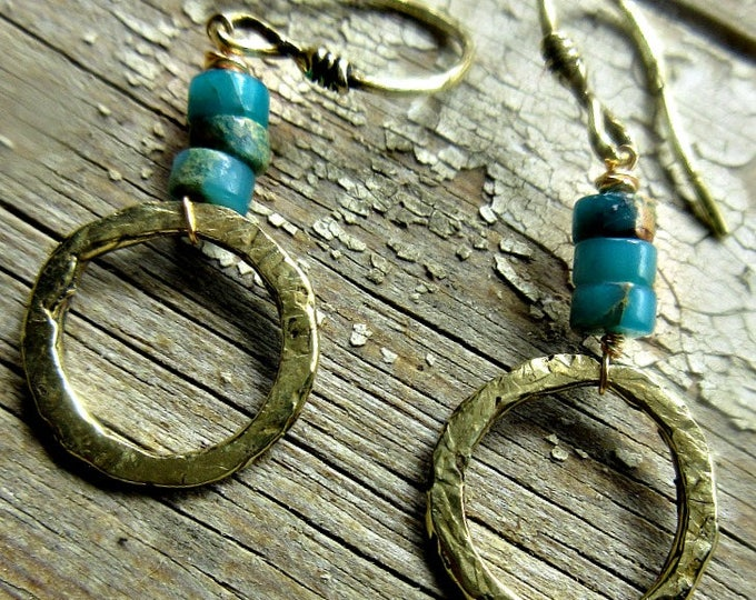 Bronze, Gold, rustic hoops, Peruvian opal, Weathered Soul, artisan jewelry, hammered hoops, gift item, dainty, turquoise, handmade jewelry