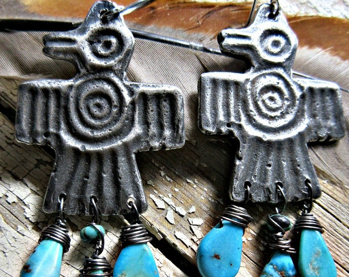 Jeweled Thunderbird earrings by Weathered Soul Jewelry, artisan made, bird lover, southwest, Native American, turquoise wire wrapped , USA