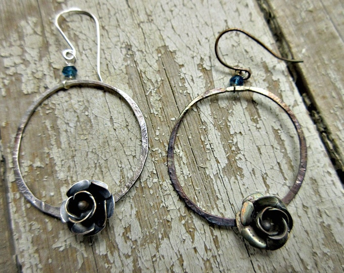 Prairie Rose earrings by Weathered Soul TM, rustic sterling hoops, oxidized with a sweet flower and blue topaz, artisan, cowgirl, boho, USA