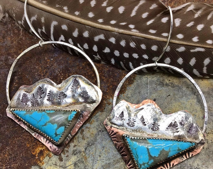 Made to order very rugged rustic mountain hoops turquoise will vary, OOAK earrings,outdoor life, nature inspired,weathered soul,