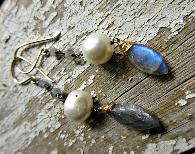 Labradorite and Pearl earrings with great flash and a touch of bronze by Weathered Soul Jewelry, artisan made in the USA, classic, urban,USA