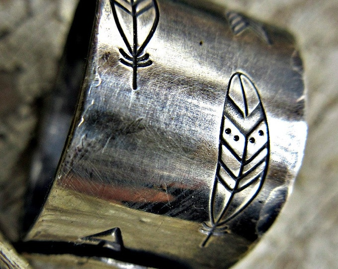 Feather and Arrow ring by Weathered Soul TM. Embossed sterling with copper rivet, made in USA, artisan crafted, native american, classic