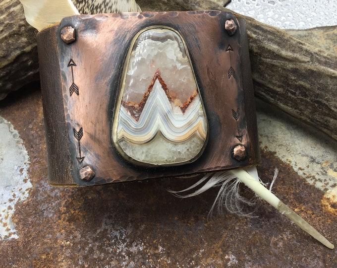 Laguna Lace Agate cuff bracelet by Weathered Soul jewelry, looks like spiked mountain peaks, arrows embossed,western flair,leather bracelet