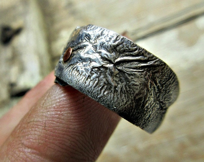 Rustic sterling silver band with copper rivet size 8.25 oxidized, looks like melted silver, Weathered Soul, artisan ring, rustic ring, USA