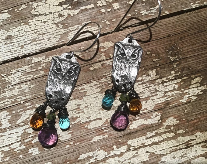 Hoot owl earrings by Weathered Soul, bird lover, artisan earrings with wire wrapped topaz, amethyst, and amber fauceted crystals, USA made