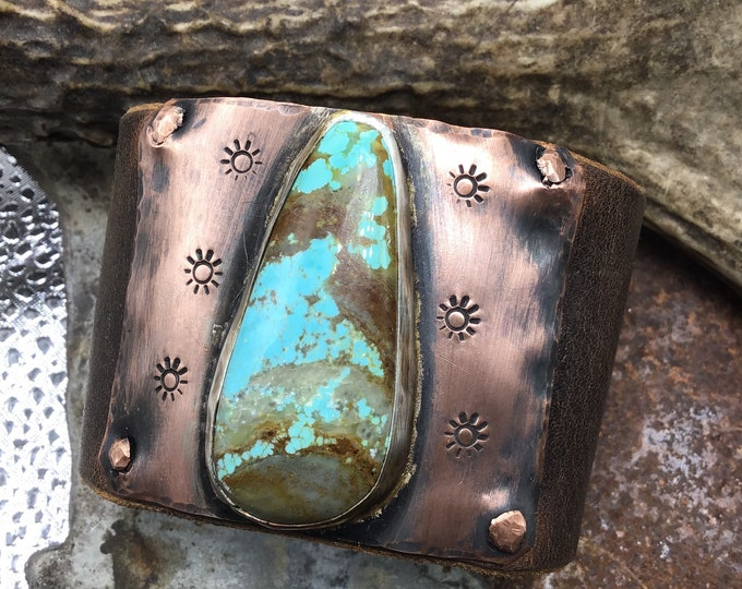 Larger than life turquoise cuff bracelet by Weathered Soul ,artisan jewelry,cowgirl,urban chic, statement piece,quality craftsmanship