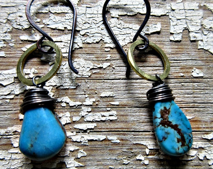 Itty bitty bronze hoops with wire wrapped turquoise teardrop stones, handmade ear wires, artisan made, hammered tiny hoops, dainty, cowgirl