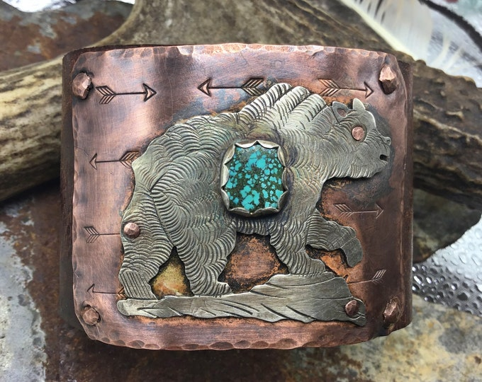 Grizzly bear walking distressed leather and turquoise cuff with real Indian head nickel snap closure by Weathered Soul jewelry,artisan,OOAK