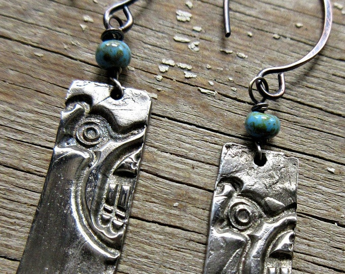 Quail earrings, PMC, Weathered Soul Jewelry, turquoise ceramic beads, copper ear wires, artisan earrings, bird, bird lover, Native American