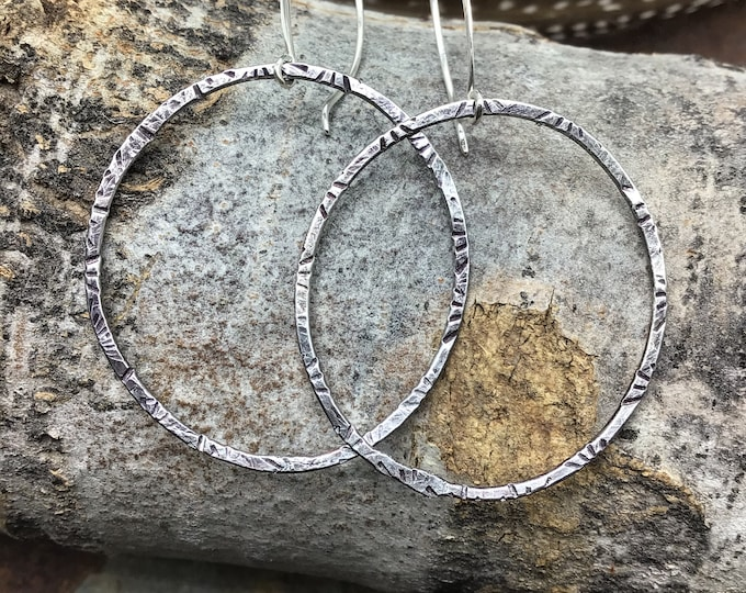 Large hammered embossed  earrings by Weathered Soul long ear wires boho, high fashion,rustic,cowgirl,urban,classic,gemstone