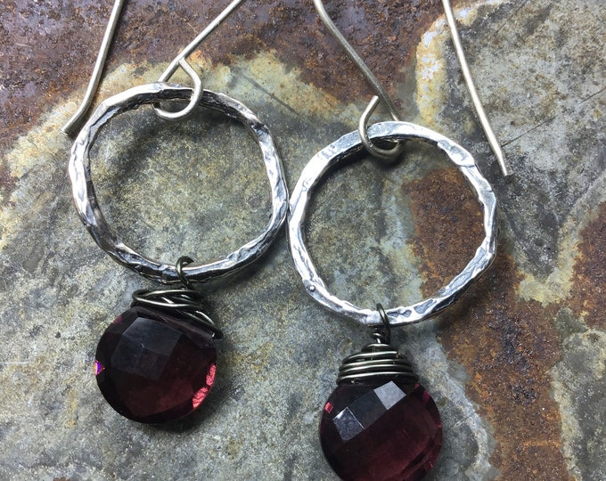 Sweet twig like hoops with beautiful garnet wire wrapped, minimalistic design,Sundance style