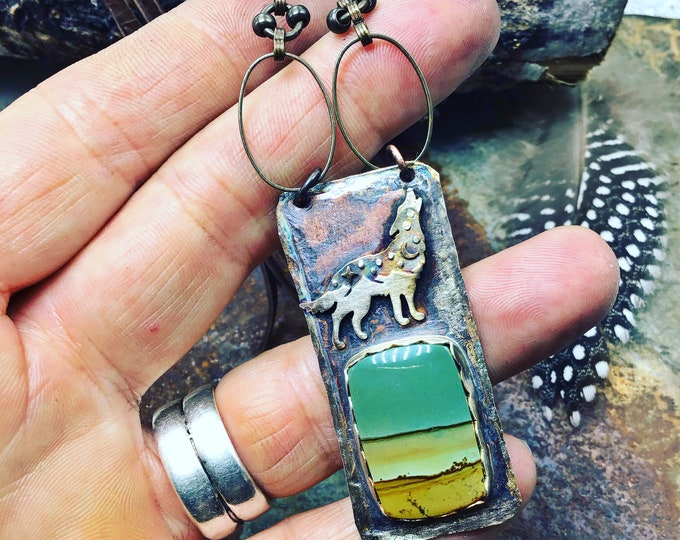 Oooowoooo wolf howls necklace by Weathered Soul, desert scene jasper sets this vintage inspired chain and leather long necklace off in style
