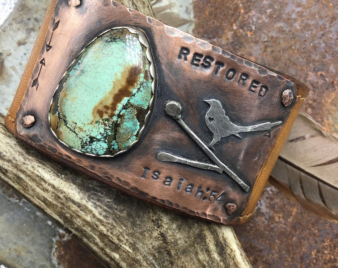 Made to order, Bird on a vine cuff with birds eye jasper or turquoise , this is am example of custom lettering, but this is sold and OOAK