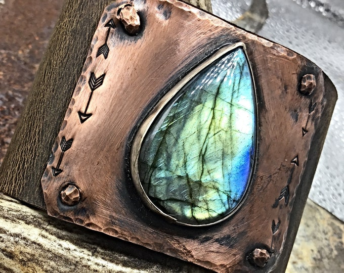 """A little on the flashy side cuff by Weathered Soul, Wide 2"""" distressed leather cuff bracelet, super gorgeous Labradorite, urban chic"""