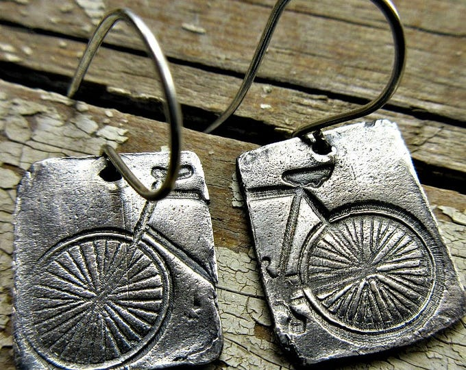 Going Riding earrings by Weathered Soul Jewelry, Bicycle, bike, bike gift, bike earrings, rustic silver, artisan crafted, PMC, outdoors