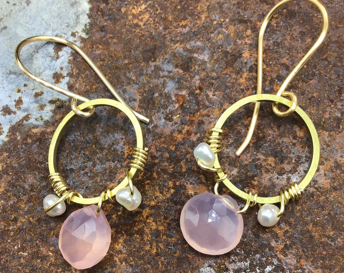 Pretty in pink and pearls earrings by Weathered Soul, dainty small bronze hoops,wire wrapped,artisan,Sundance style,urban chic,minimalist