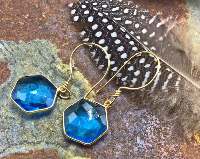 Topaz and bronze teal dainty drop earrings by Weathered soul