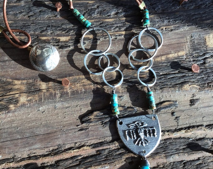 Primitive Thunderbird necklace with turquoise and leather with vintage nickel buffalo nickel closure, cowgirl jewelry, southwest style