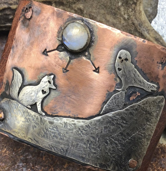 Made to order Fox and Owl cuff with a moonstone bracelet by Weathered Soul Jewelry, artisan crafted, nature lover, outdoor living, USA,art